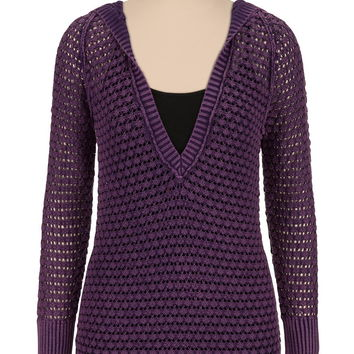 Washed Open Stitch Sweater With Hood - Blackberry Cordial