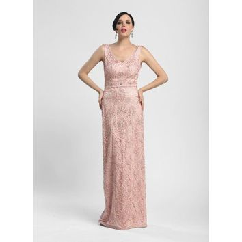 Embroidered Column Ball Gown Dress in Rose by Sue Wong