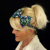 Jewel tone floral bow stretch headband pinup/retro/feminine