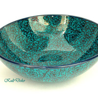 Turkish Ceramic Bowl Mediterranean 26cm Pottery handmade emerald green turkish item ottoman
