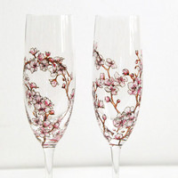 Champagne Flutes -Cherry Blossoms Collection - made to order