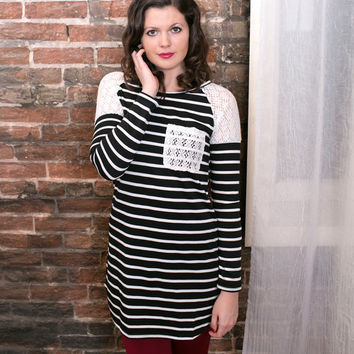 Affection Striped Lace Tunic