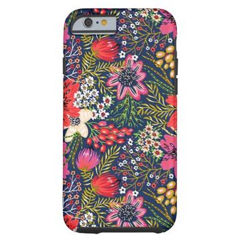 Vintage Bright Floral Pattern Fabric Tough iPhone 6 Case