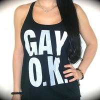 Utopia Apparel &quot;GAY O.K.&quot; Flowy Knotted Racerback Tank In Black