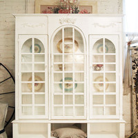 Painted Cottage Shabby White Farmhouse China Cabinet/ Bookcase CH276