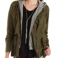 Hooded & Layered Anorak Jacket by Charlotte Russe - Olive Combo