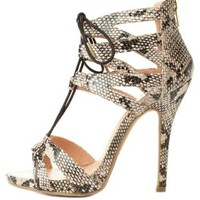 Caged Python Print Lace-Up Heels by Charlotte Russe - Natural