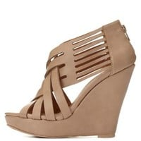 Qupid Strappy Crisscrossing Wedges by Charlotte Russe - Beige