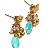 Sleeping Beauty Turquoise Marquise Elephant Charm Keshi Pearl White Topaz Gold Vermeil Bali Leaf Dangle Earrings