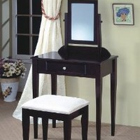 Frenchi Furniture Wood 3 Pc Vanity Set in Espresso Finish: Home & Kitchen