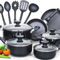 Cook N Home 15 Piece Non stick Aluminum Soft handle Cookware Set: Kitchen & Dining