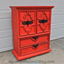 Scarlett Sun Orange Armoire/ Retro /Dresser/ Glazed and Distressed /Shabby Chic
