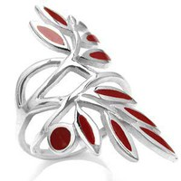 Long Red Coral 925 Sterling Silver Leaf Ring RN0041789 SilverShake.com