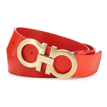 Brushed Gold Buckle Red Leather Belt by Ferragamo - Brushed Gold Buckle Red Leather Belt by Ferragamo /