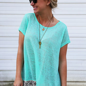 For Real Crochet Tunic {Mint}