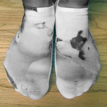 Custom Printed Photo Socks, Man's Best Friend, Pet Photos, Valentine, Gift Idea, Set of 3 Cotton White No Show Socks, Men's & Women's Socks