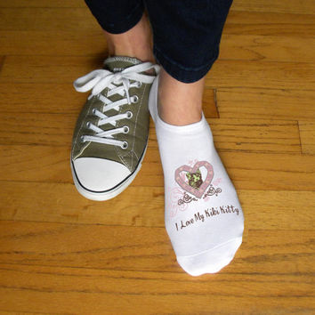 Valentine Kitty Kat Socks, Personalize with your Cats Name, Valentine's Gift Idea, Pet Lovers, Set of 3 Ladies Cotton No Show Socks in White