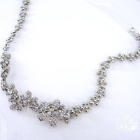 String of Rhinestone & Crystal Flowers Head piece Wedding Jewelry Bridal hair band