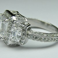 Engagement Ring - Emerald Diamond Vintage Design Halo Engagement Ring Cadillac trapezoids side stones in 14K White Gold - ES648ECWG