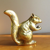 Vintage Brass Squirrel Figurine Squirrel Statue Gold Squirrel Woodland Animal Collectible Paperweight