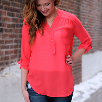 All Business Blouse - Coral