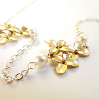 Gold Flower Necklace Gold Silver Necklace Gold Bridal Necklace Bridesmaid Necklace Wedding