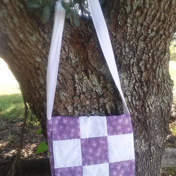 Quilted Messenger Bag, Ladies in purple and white on white Messenger Bag