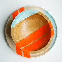 "Modern Neon Hardwood 7"" Bowl, Electric Orange"