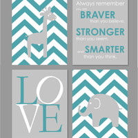 "Turquoise and Grey Nursery Elephant Nursery Art Prints Chevron Art You Are Braver Than You Believe INSTANT DOWNLOAD 8""x10"" set of four"