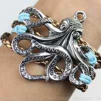 Bracelet - octopus bracelet, the real leather bracelet, wax attachment bracelet