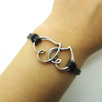 Black Rope Steampunk Bracelet Heart to Heart adjustable Vintage silver UnisexBow and Heart to Heart Bracelett 1185S