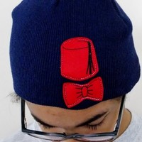 Bowtie And Fez Knit Beanie. Adult Once Size Fits Most. from Evangelina's Closet