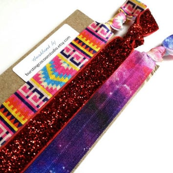 Trend headbands, pink Aztec, rainbow galaxy, and glitter Marsala headband, set of 3, stretch hairband, knotted elastic, fun hot trends, gift