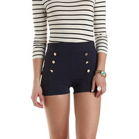 High-Waisted Sailor Shorts by Charlotte Russe - Navy