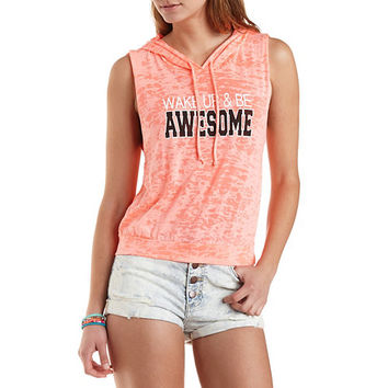 Wake Up & Be Awesome Graphic Sleeveless Hoodie - Neon Coral