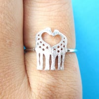 Kissing Giraffe Silhouette Shaped Animal Ring in Silver | US Size 6 Only - Size 6