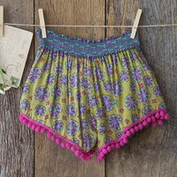 Medium/Large  Lime  Green  &  Pink  Indie  Print  Lounge  Shorts  From  Natural  Life