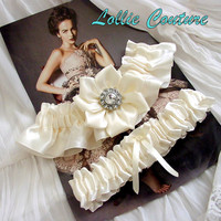 Wedding garter set -  Ivory Garters - White Garters - Bridal Garter Set