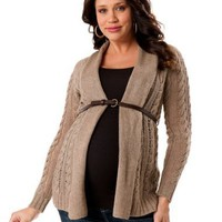 Motherhood Maternity: Long Sleeve Cable Knit Maternity Cardigan
