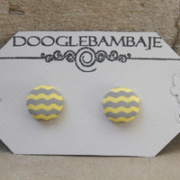 Grey Yellow Wave Party Design- Bright Yellow and Grey Gray Wave Wavy Chevron Fabric Button Earrings Stud Post- Wedding