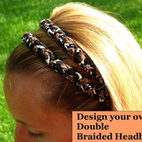 Hippie Double Braided Headband for women and girls - YOU PICK COLORS