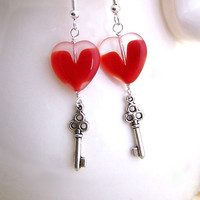 Key to My Heart Earrings - Steampunk Earrings with a red heart &amp; silver key