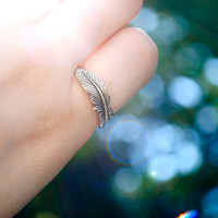 Silver Feather Ring Size 6