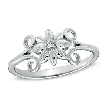 Precious Moments® Diamond Accent Flower Ring in Sterling Silver