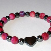Pink Shell Amethyst and Hematite Stretch Bracelet with Hematite Heart