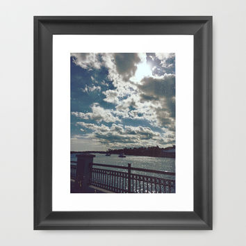 Water and Clouds Framed Art Print by Jane Smith