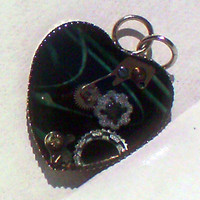 Black & Blue Steampunk Heart Resin Pendant