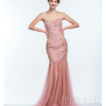 Terani Coral Pearl Embellished Sweetheart Gown Prom 2015