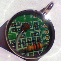 Geekery Modified Computer Circuitry Round Resin Pendant