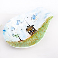 Ceramic bowl - bowl painted - House in the meadow